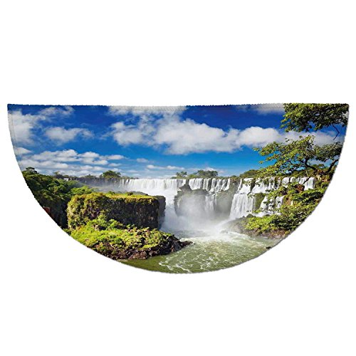 Half Round Door Mat Entrance Rug Floor Mats,Americana Landscape Decor,Majestic Waterfall River Argentinean Falls Natural Wonders Scenery,Multi,Garage Entry Carpet Decor for House Patio Grass Water