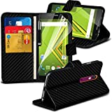 ONX3® ( Black Carbon Fiber Wallet ) Motorola Moto X Play Case Custom Made Carbon Fiber BookStyle PU Leather Wallet Flip With Credit / Debit Card Slot Case Skin Cover With LCD Screen Protector Guard, Polishing Cloth & Mini Retractable Stylus Pen