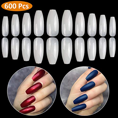 Coffin Nails 600PCS Fake Nails Long BTArtbox Ballerina Nails Full Cover Artificial Nails Natural 10 Sizes