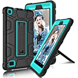 "All-New Amazon Fire 7"" 2017 Case, Elegant Choise 7th Generation Fire 7 Heavy Duty Shockproof Armor Rugged Protective Case Cover with Stand for Amazon Kindle Fire 7 2017 Release (Black/Blue)"