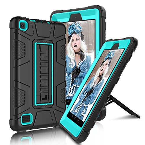 All-New Amazon Fire 7' 2017 Case, Elegant Choise 7th Generation Fire 7 Heavy Duty Shockproof Armor Rugged Protective Case Cover with Stand for Amazon Kindle Fire 7 2017 Release (Black/Blue)