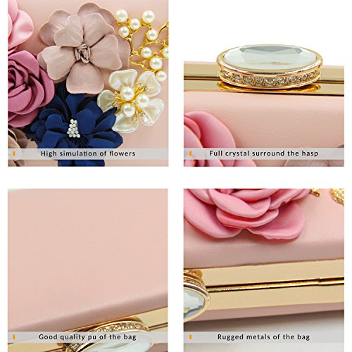 Milisente Women Flower Clutches Evening Bags Handbags Wedding Clutch Purse (Light Pink) by Milisente (Image #5)
