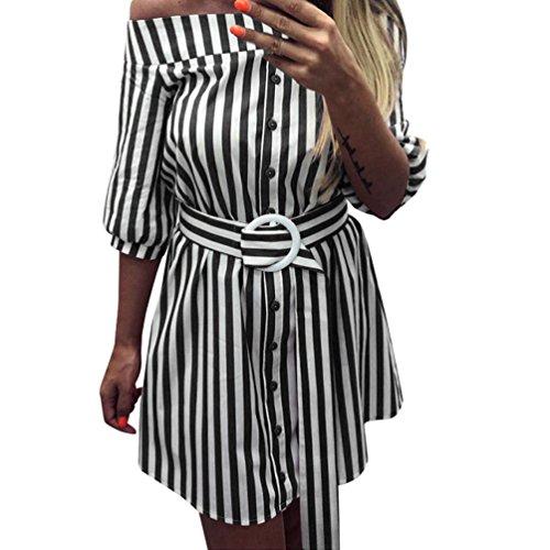 TiaQ Chic Robe Femme Ceinture D't  Rayures Manches Mi-Longues  Manches Courtes paule Sexy Mini Robe Courte Noir