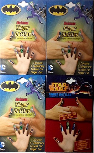 4 Pack of Finger Puppets or Battle Temporary Tattoos ~ 3 Batman & 1 Star Wars
