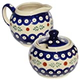 Polish Pottery Sugar Bowl and Creamer From Zaklady Ceramiczne Boleslawiec #694/711-242 Classic Pattern, Sugar Bowl: Height: 3.7'' Creamer: Height: 3.4''