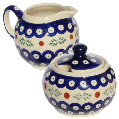 Polish Pottery Sugar Bowl and Creamer From Zaklady Ceramiczne Boleslawiec #694/711-242 Classic Pattern, Sugar Bowl: Height: 3.7
