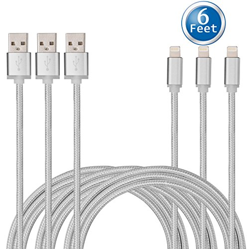 CE-Link Certified ( 3 Pack ) 6 Feet / 2 Meters Nylon Braided Lightning to USB Cord for iPhone iPad iPod (Braided Power Cord compare prices)