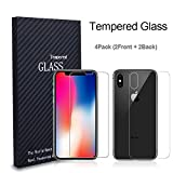 iphone 4 front screen protector - iPhone X Front Back Screen Protector Tempered Glass, AndHot HD Clear iPhone X Tempered Glass Screen Protector Anti Scratch Back Glass Screen Protector Film for Apple iPhone X ( 4 Pack )