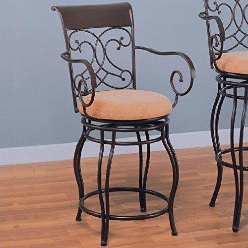 Coaster Home Furnishings Transitional Bar Stool, Dark Brown - French Back Bar Stool