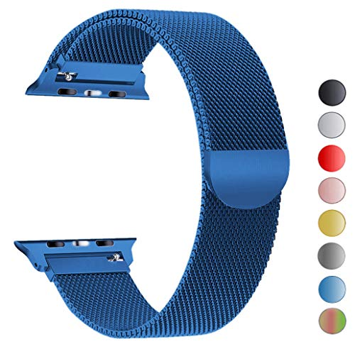 Seoaura Compatible Apple Watch Band 38mm 40mm, Stainless Steel Milanese Loop Replacement Strap with Magnetic Closure iWatch Series 4 3 2 1 Sports (Blue, 38mm/40mm)