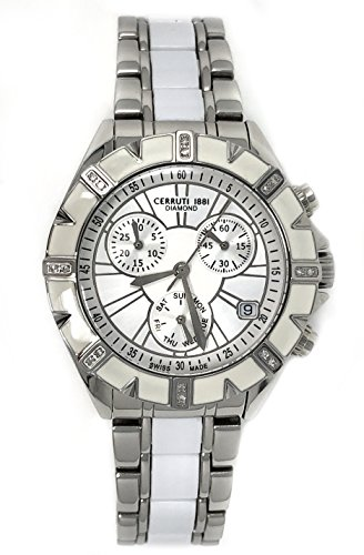 Cerruti 1881 Ladies Chronograph Watch Two Tone Silver and White Ceramic Strap Diamond CRWDM031B219Q