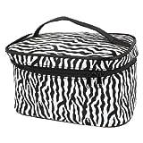 Travel Zebra Print Mirror Makeup Cosmetic Holder Bag Coffee Black White