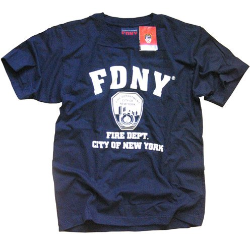 FDNY T-SHIRT, Officially Licensed Crewneck New York Fire Department Athletic Tee, Navy L