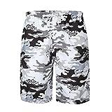 Summer Hawaiian Men Camo Print Drawstring Pocket Beach Surf Board Shorts/L