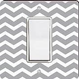 Rikki Knight 44675 Single Rocker Chunky Chevron Grey Zig Zag Design Light Switch Plate