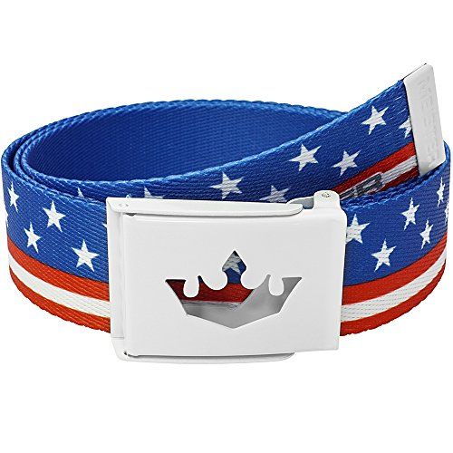 Meister Player Golf Web Belt - Adjustable & Reversible - American Flag