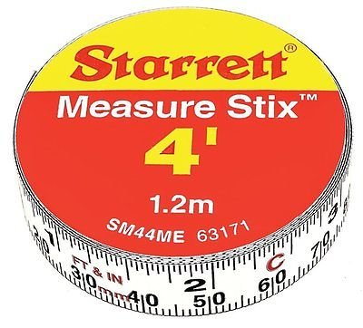 Measure Stix SM44ME Steel White Measure Tape with Adhesive Backing (4' Metric Ruler)