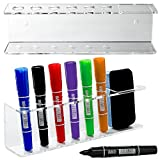 6 Slot Clear Acrylic Dry Erase Board Marker and Eraser Holder Tray Rack, Set ...