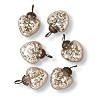 Luna Bazaar Mercury Glass Mini Heart Ornaments (1 to 1.5-Inch, Silver, Hetty Design, Set of 6) - Great Gift Idea, Vintage-Style Decorations for Christmas, Special Occasions, Home Decor and Parties