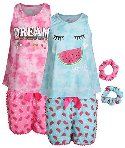 Sleep On It Girls 4-Piece Pajama Tank Top and Short Set with Matching Scrunchies (2 Full Sets), Sweet Dream, Size 10-12'