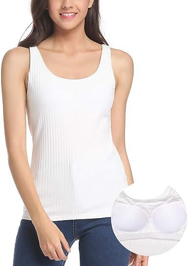 Camiseta básica de Camisa con Sujetador para Mujer con Sujetador Invisible sin Aros Super Suave, Camisetas sin Mangas acanaladas: Amazon.es: Ropa y accesorios