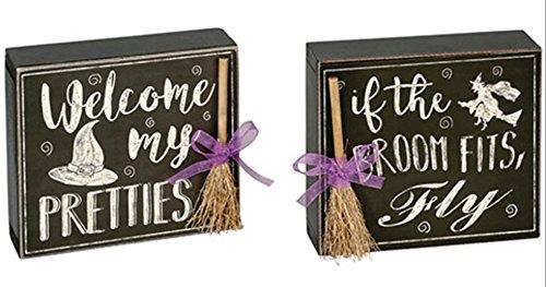 Nikki's Knick Knacks Set of 2 Black and White Wood Box Halloween Signs -