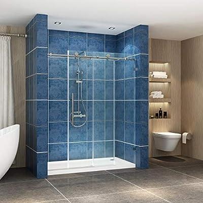 """SUNNY SHOWER BP05P2 56-60 in. Width, Fully Frameless Sliding Bathtub Shower Doors, 3/8"""" Glass, Polished Chrome Stainless Steel"""
