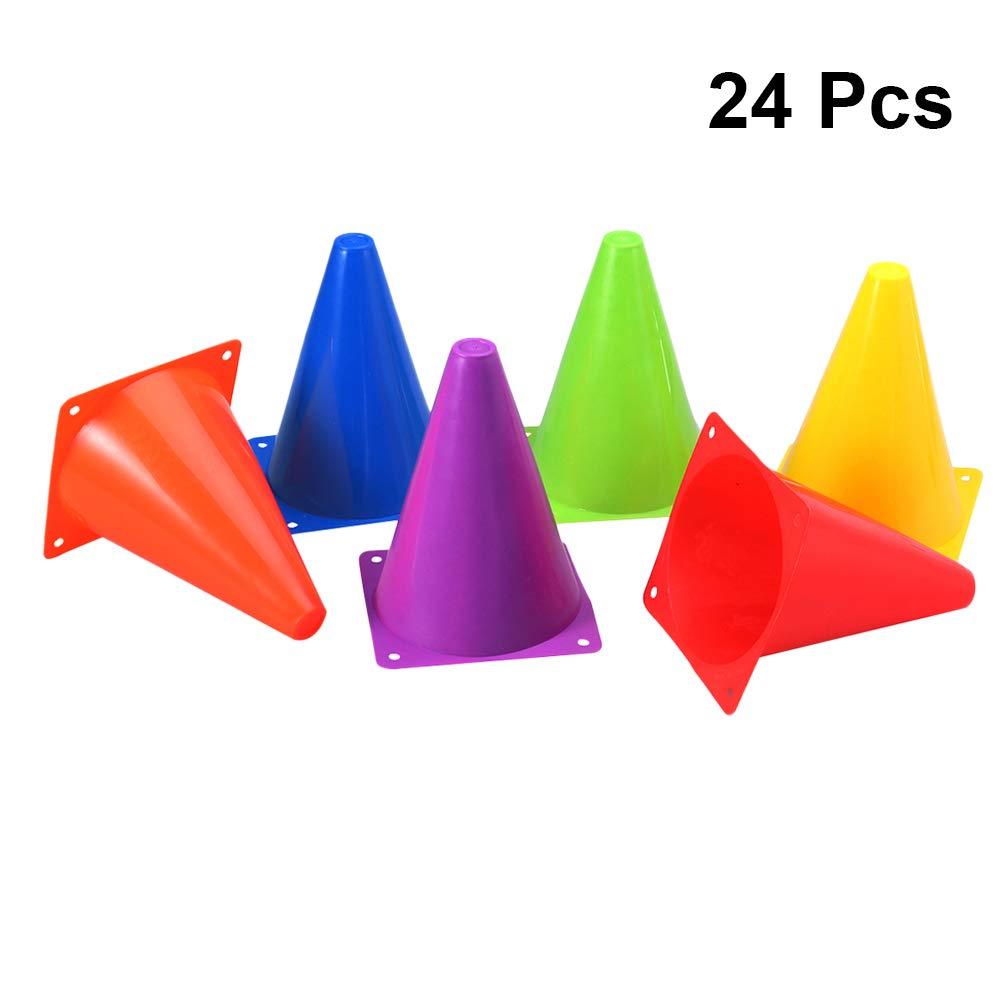 Clispeed 24pcs Soccer Traffic Traffic Coni Colori assortiti Cono di plastica multifunzione Educazione fisica Coni di allenamento sportivo per attività calcistiche di calcio