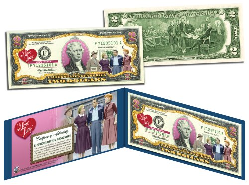 - I LOVE LUCY Cast Genuine Legal Tender U.S. $2 Bill - OFFICIALLY LICENSED with Display