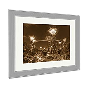 Ashley Framed Prints Night View Of The Super Tree Grove At Gardens By The Bay In Singapore Spanning, Contemporary Decoration, Sepia, 26x30 (frame size), Silver Frame, AG6084889
