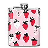 Strawberry Top Shelf Flasks Stainless Steel Hip Flask, 7 Oz, Special Design Bridesmaid Flask