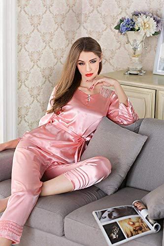 Verano Marca Con Interior Hogar Pijama Camisón De Damas Mujer Conjuntos Manga Rosa Ropa Cálida Dos Para Sche El Cordones Mode Larga Pantalones Camisetas Piezas Noche 0x7vEa7wq