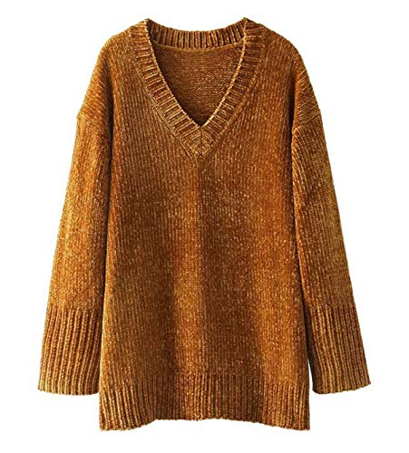 Women's Oversized Chenille V-Neck Relaxed Sweater (Ginger, One Size)