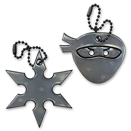 funflector Halloween Safety Reflector - Ninja & Ninjastar - Black - Duo-Pack -