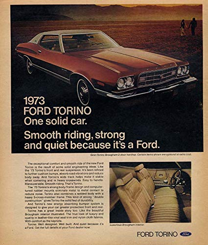 Smooth riding strong & quiet Ford Gran Torino Brougham ad 1973 Canada by The Jumping Frog