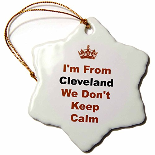 3dRose ORN_180043_1 Dont Keep Calm, Cleveland, Brown and Black Letters on White Background Snowflake Ornament, Porcelain, 3-Inch