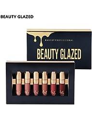 TOPBeauty 6pcs/set Makeup Matte Lipstick Lip Kit Gloss Long Lasting Lip Stick Cosmetics mini set brithday edition kyshadow