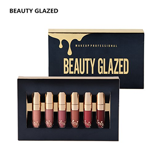 TOPBeauty 6pcs/set Makeup Matte Lipstick Lip Kit Gloss Long Lasting Lip Stick Cosmetics mini set brithday edition kyshadow
