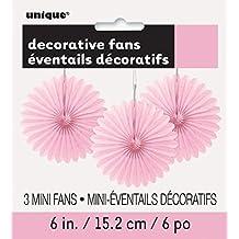 "6"" Mini Light Pink Tissue Paper Fan Decorations, 3ct"