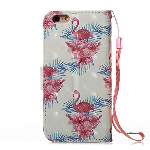 Lotuslnn iPhone 6 / 6S caja del teléfono, caja de cuero de la PU cubierta de cierre magnético cubierta con Kickstand y ranuras para tarjetas de bolsillo en efectivo para iPhone 6 / 6S - Horse pink Flamingo pink