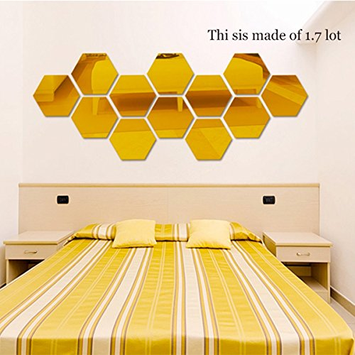 JMHWALL 7pcs Regular Hexagon Honeycomb Decorative 3D Mirror Wall Stickers Living Room Bedroom Poster Home Decor Room Decoration,Gold,M ()