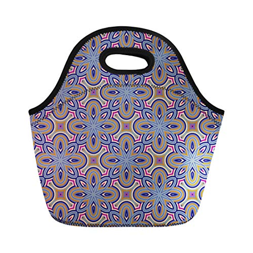 Antique Checkerboard - Semtomn Neoprene Lunch Tote Bag Moroccan for Papers Tiles Abstract Antique Bright Checkerboard Chinese Reusable Cooler Bags Insulated Thermal Picnic Handbag for Travel,School,Outdoors,Work