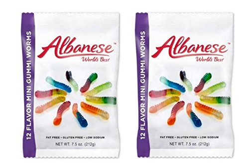 Albanese Worlds Best 12 Flavor Mini Gummi Worms - 7.5 ounce (Pack of 2)