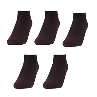 Men's 5/10 Pairs Low Cut Socks Bamboo Cotton Business Casual Dress Non Slip Flat Boat Invisible No Show Liners Sports Ankle Crew Socks (Brown, 5) at Men's Clothing store