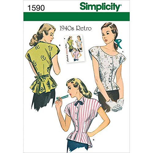 1940s Sewing Patterns – Dresses, Overalls, Lingerie etc 1940s Retro Blouse U5 (16-18-20-22-24)                               $9.94 AT vintagedancer.com