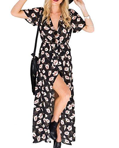 Mujeres Vestidos Maxi Impresión Floral V Neck Vestido De Playa Como la imagen