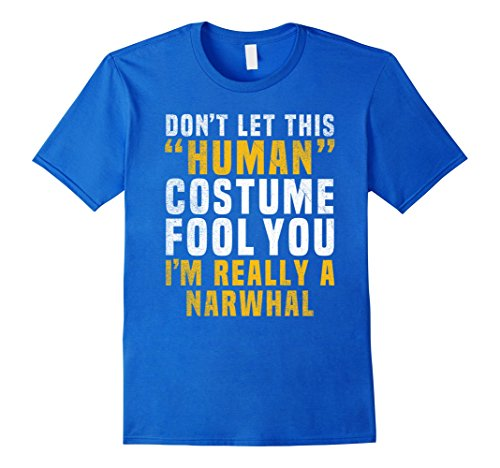 Mens Narwhal Funny Halloween Shirt Costume Easy Tween Kids Adult 2XL Royal Blue