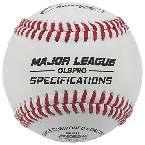 Champion Sports Leather Baseball Set: Dozen Indoor/Outdoor Genuine Leather Official League Baseballs for Practice Training or Real Game - OLBPRO Pack of 12