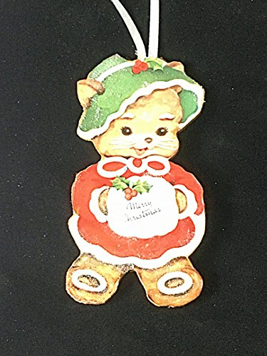 Christmas Cookie Kitty Ornament Handcrafted Wooden Sugar Frosting Decoration, Hostess Gift for Baker, Kitchen Wreath, White Fur Muff Hat