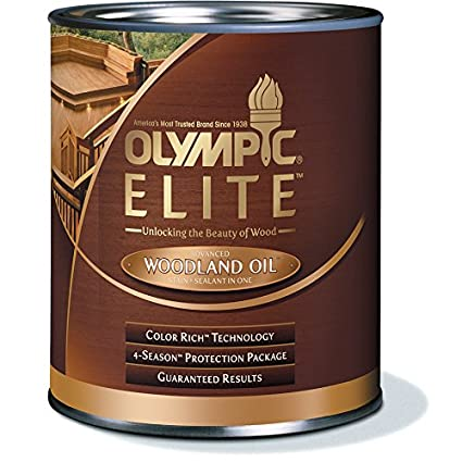 Marvelous Olympic Stain, Olympic Elite Wood Stain, Mahogany Blaze, Woodland Oil, 1  Quart